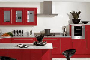 Красные кухни -19