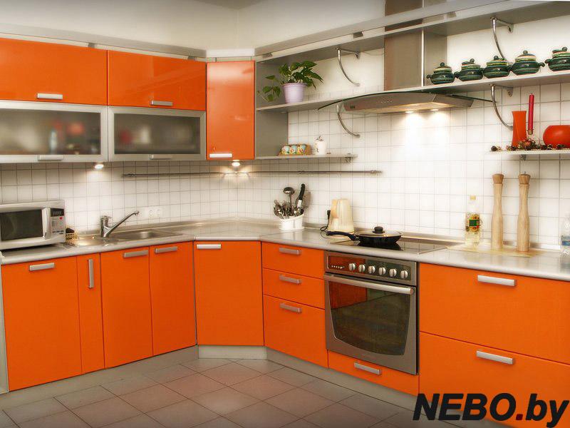 Фото дизайн кухни оранжевого цвета