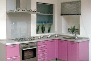 мебель для дома: розовые стены кухни.