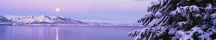 Скинали - Гренландия, луна в сиреневой дымке рассвета