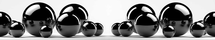 Скинали - Черные металлические сферы на белом фоне