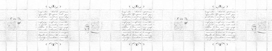 Скинали - Белая плитка с текстовым узором