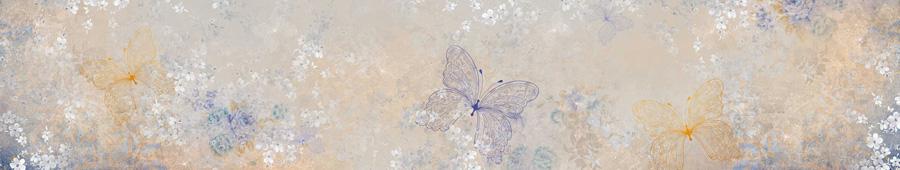 Скинали - Фон в графические цветы и бабочки