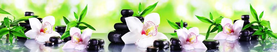 Скинали - Орхидеи с камушками спа и стебельками бамбука