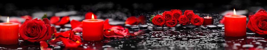 Скинали - Красные розы и свечи на темном фоне