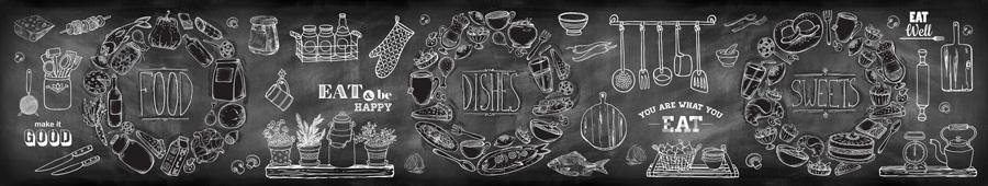 Скинали - Меловая доска с рисунками и надписями и еде