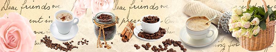 Скинали - Винтажный фон с кофе и розами