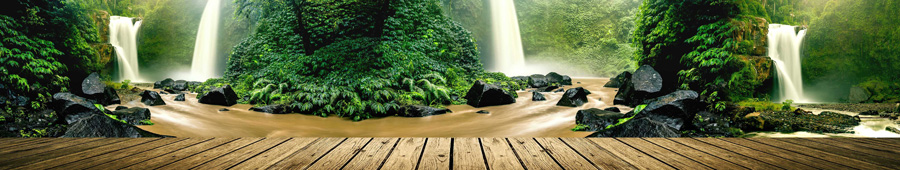 Скинали - Вид на водопады в тропическом лесу