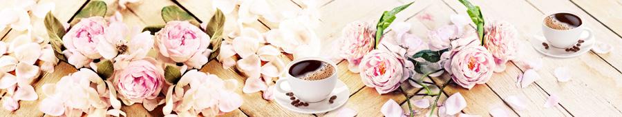 Скинали - Нежные цветы на столе с чашками кофе