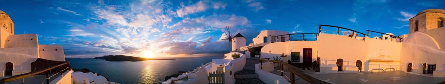 Скинали - Закат на острове Санторини, Греция