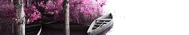 Скинали - Деревья с розовой листвой и лодка