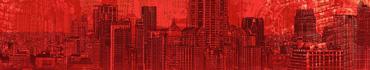 Скинали - Иллюстрация современного города на красном