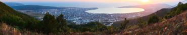 Скинали - Геленджик, вид с гор на закате солнца