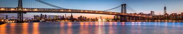 Скинали - Мост Уильямсбург в сумерках, между Бруклином и Манхэттеном
