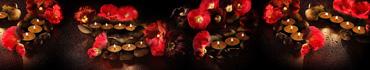 Скинали - Ароматерапия - горящие свечи, цветы, камушки на темном фоне с каплями воды