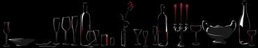 Скинали - Романтичный натюрморт в контурах-очертаниях на черном фоне