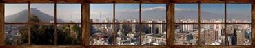 Скинали - Вид из окна на город Сантьяго и горы Анды, Чили