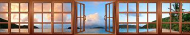 Скинали - Вид из окна на закат на пляже Виргинских островов