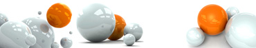 Скинали - Красивые серые и оранжевые сферы на белом фоне