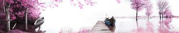 Скинали - Лодки на озере и деревья с розовой листвой