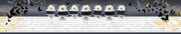 Скинали - Ромашки на камнях дзен, украшенные бабочками, узорами и кирпичной стеной