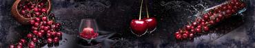 Скинали - Сочная черешня и гранат в бокале на темном фоне