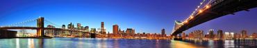 Скинали - Мосты Бруклин и Манхэттен в сумерках, Нью-Йорк