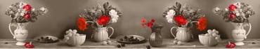 Скинали - Цветочная композиция в сепии с красными цветами