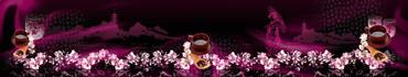 Скинали - Японская чайная церемония на темном фоне
