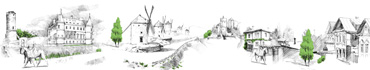 Скинали - Фон-коллаж рисунков деревни, старых городов, замков карандашом