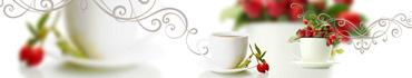 Скинали - Чашки чаю с шиповником на светлом фоне