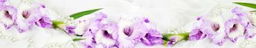 Скинали - Нежно-фиолетовый гладиолус и жемчуг на ткани