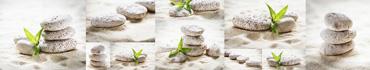 Скинали - Листья бамбука на камушках с песком, коллаж