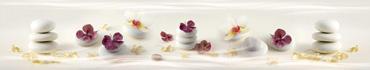 Скинали - Цветочки гортензии и орхидеи на нежно-белых камушках