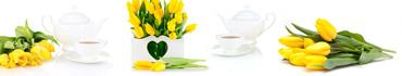 Скинали - Свежие тюльпаны с чаем на белом фоне
