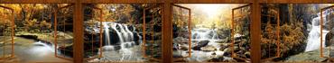 Скинали - Вид на осенний лес с водопадами