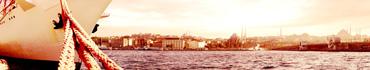 Скинали - Панорамный вид Стамбула с кораблем у причала
