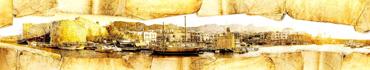 Скинали - Состаренный фон, вид на пришвартованные у крепости корабли и лодки