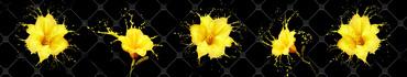 Скинали - Желтые лилии на фоне декоративной плитки