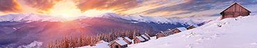 Скинали - Домики с заснеженными крышами в Сибири