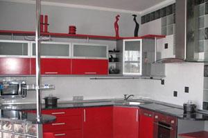 Красные кухни -9