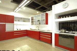 Красные кухни -13