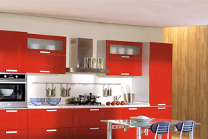 Красные кухни -15