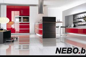 Красные кухни -16