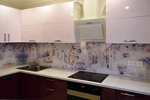 Фартуки для кухни из стекла: фото - 583
