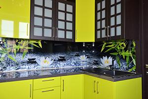 Фартуки для кухни из стекла: фото - 585