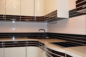 Фартуки для кухни из стекла: фото - 571
