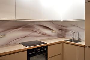 Фартуки для кухни из стекла: фото - 574