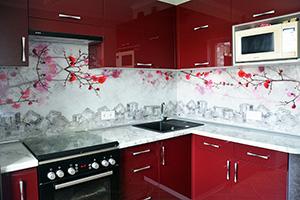 Фартуки для кухни из стекла: фото - 362
