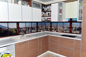 Фартуки для кухни из стекла: фото - 353